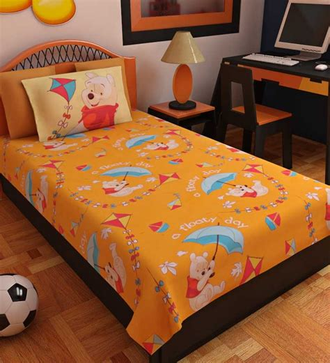 single bed sheets bombay dyeing winnie the pooh single bed sheet set by