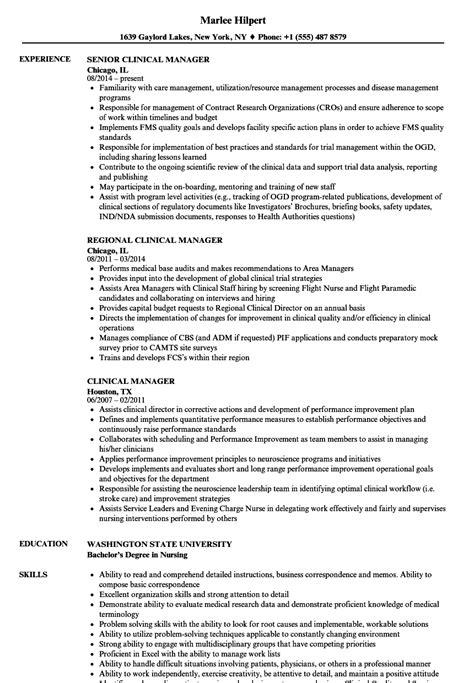clinical manager resume sles velvet