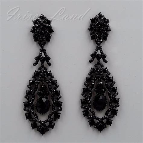 Black Earrings black alloy jet rhinestone chandelier drop dangle