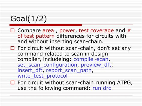 test pattern compile ppt lab1 scan chain insertion and atpg powerpoint