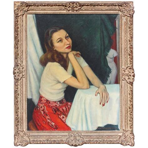 hollywood regency painting hollywood regency portrait for sale at 1stdibs