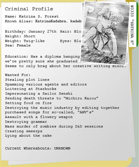criminal profile template criminal profile by katrinakadabra on deviantart
