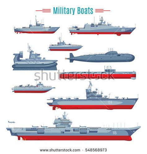 types of boats by size set flat yacht scooter boat cargo stock vector 265141118