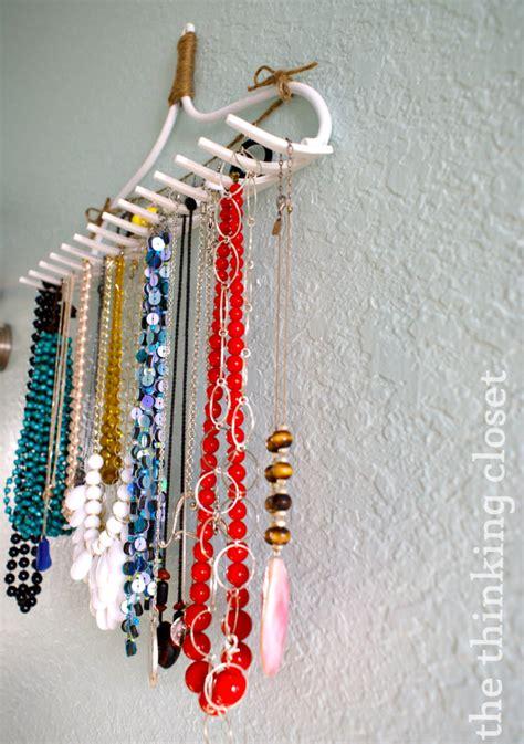 diy necklace hanger diy rake necklace hanger the thinking closet