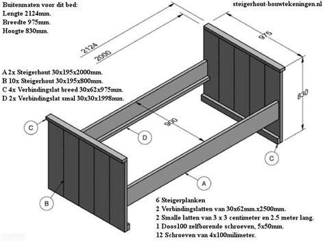 Bouwtekening Pallet Bed by Doe Het Zelf Bouwtekening Voor Steigerhout Bed Maken