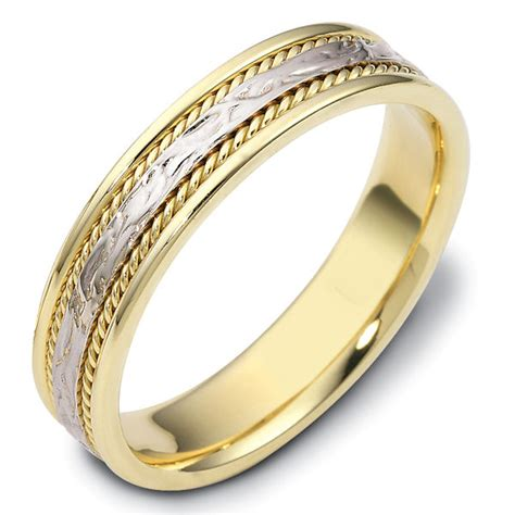 Handcrafted Wedding Bands - 110561e two tone gold comfort fit 5mm handmade wedding band