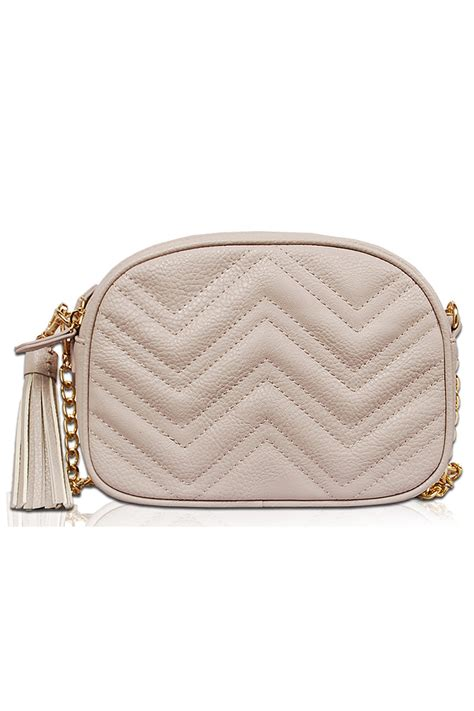 Pouch Flowers Dan Pouch Zigzag solid zigzag quilted messenger bag with chain agp