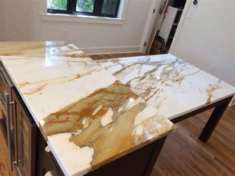 Brown Quartz Kitchen Tops & Calacatta Gold Marble Island Contemporary Kitchen Miami by