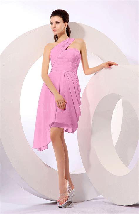 Plain Asymmetric Sleeveless Dress pink plain a line asymmetric neckline sleeveless chiffon