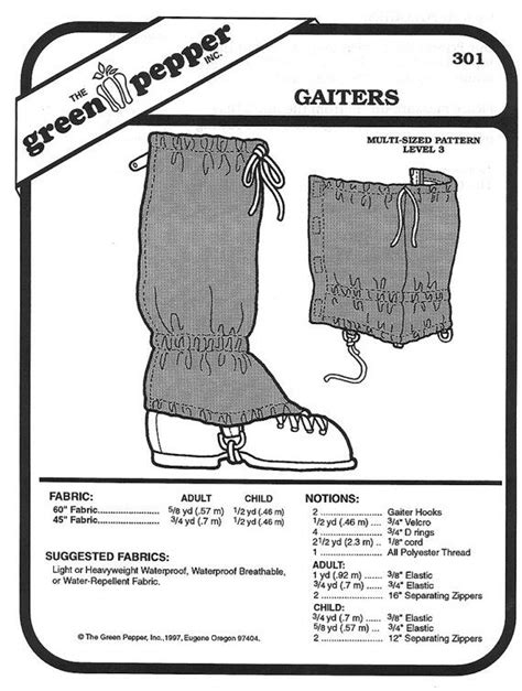 Sewing Pattern - Cross Country Gaiter Pattern for Children