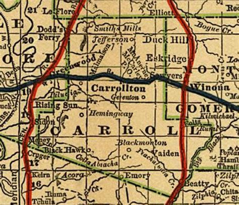 Carroll County Court Records Carroll County Msgenweb Site 1888 Map