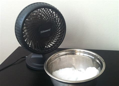 fan that uses ice to cool get cooler air with a fan and a bowl of ice how to cool