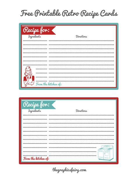 page editable from the kitchen of recipe card template retro recipe card printables the graphics