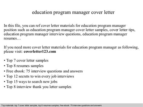 Cover Letter For Education Manager Education Program Manager Cover Letter