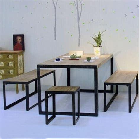 Meja Makan Besi Tempa busana kasual luar meja makan meja bundar kayu putih besi tempa cafe meja dan kursi paket