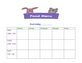 daycare menu template 6 best images of printable sle day care menu food