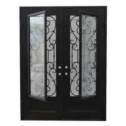 Wrought Iron Glass Doors Grafton Exterior Wrought Iron Glass Doors Vine Collection Black Right Inswing 82 Quot X62 Quot Flat Top