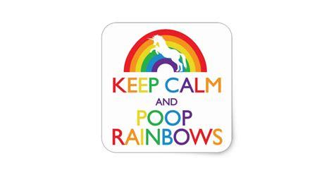 keep calm and rainbows unicorn square sticker zazzle