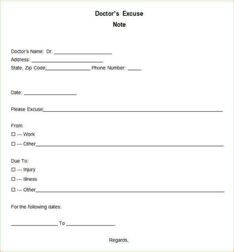 Excuse Letter Check Up 11 Doctor Excuses Academic Resume Template