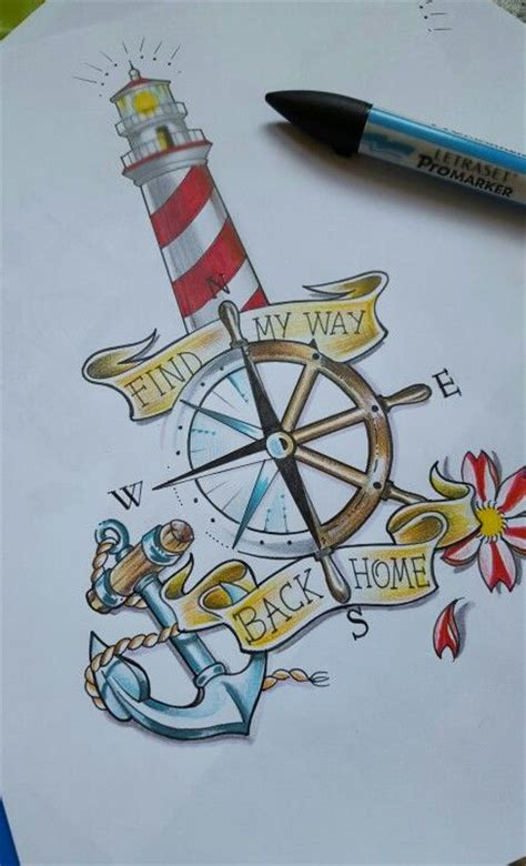 old tattoo lighthouse anchor sailor boytattoo