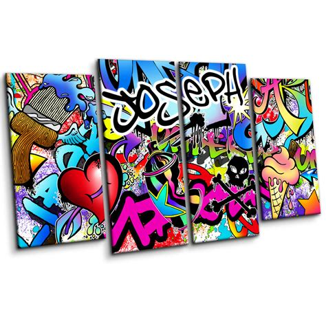 Boys Wall Stickers For Bedrooms personalised graffiti wall art canvas print large four piece
