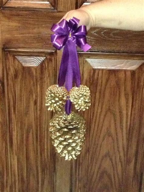 Church Decorations For Wedding Gold Hanging Pine Cone Pew Decor Aubergine Plum R Ceremony