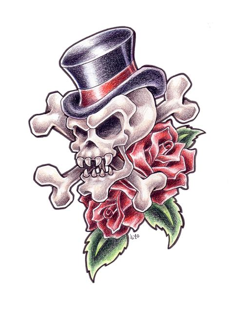 skull with tophat tattoo designs vl