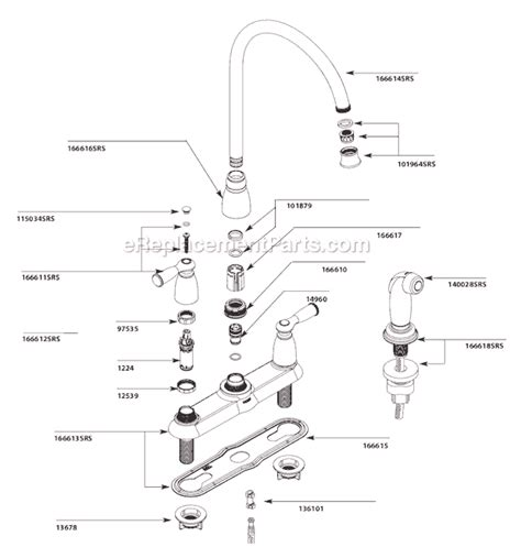 moen kitchen faucet diagram moen ca87000srs parts list and diagram ereplacementparts com