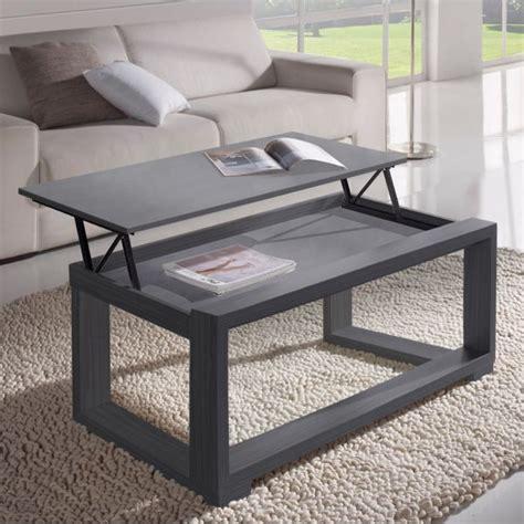 table basse relevable plateau grise cadre gris meuble salon