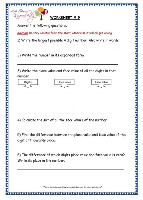 Worksheets On Place Value For Grade 4 by Grade 3 Maths Worksheets 4 Digit Numbers 1 3 Finding The