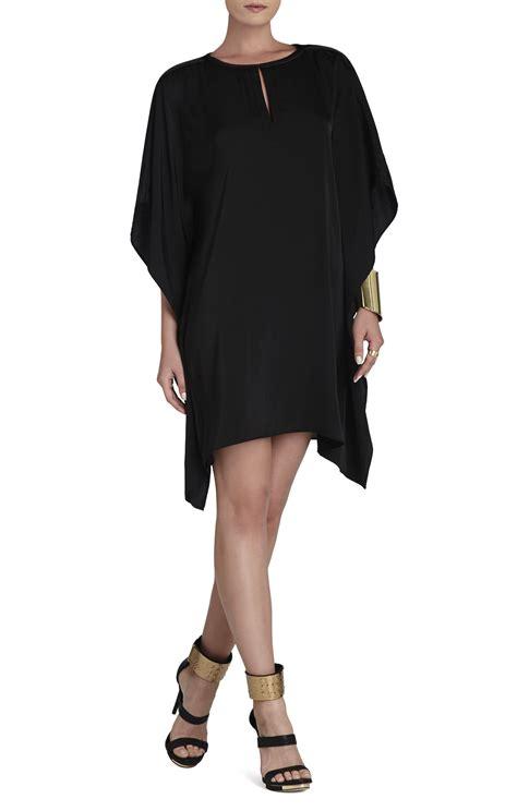 bcbg draped dress bcbgmaxazria jazmine draped kimono dress in black lyst