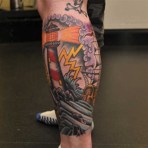 traditional leg tattoos 35 awesome lighthouse tattoos on legs