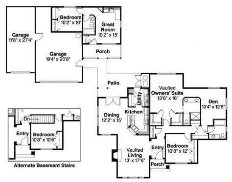 house plans with detached in suite detached guest cottage or in suite house plan hunters