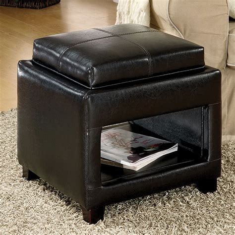 Espresso Ottoman Storage Shop Furniture Of America Ely Espresso Square Storage Ottoman At Lowes