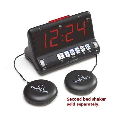 bed shaker alarm cleardigital sw200 dual alarm clock with large display and