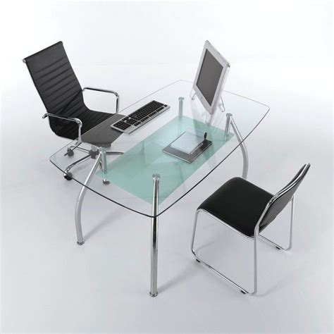 scrivania in vetro tavolo scrivania da ufficio bertram in vetro e acciaio 145 cm