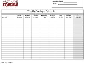 Kitchen Manager Hours Weekly Employee Schedule Form Restaurant Management Tools