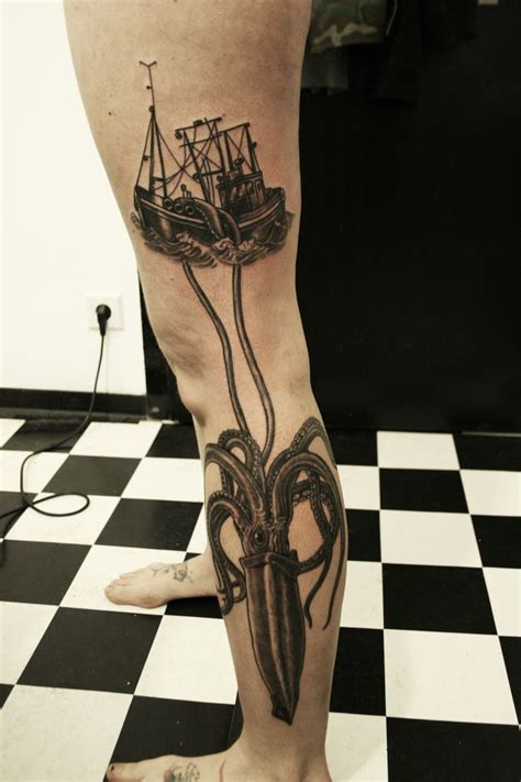 squid ink tattoo squid and fishing boat leg i socks that