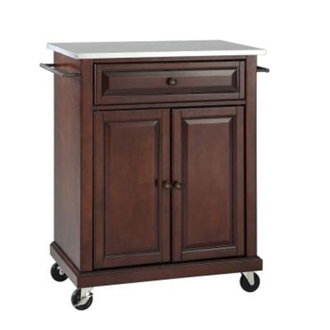 kitchen island home depot crosley 28 1 4 in w stainless steel top mobile kitchen