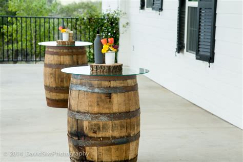 wine barrel table glass top glass mirror decor dpc event services