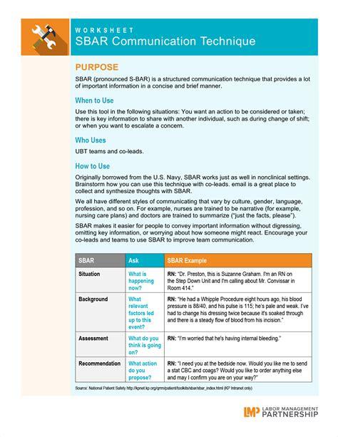 Sbar Communication Technique Labor Management Partnership Sbar Communication Tool Template
