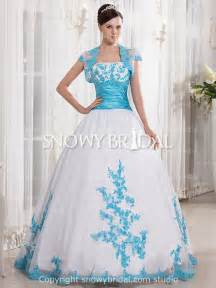 modest ball gown dropped strapless cap sleeve white blue