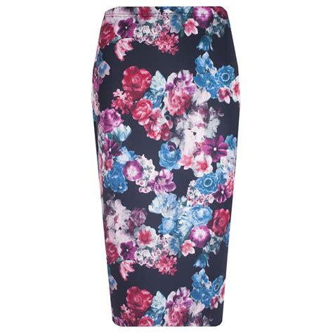 White Blue Flower Pencil Skirt Size S M L new womens floral frill midi bodycon skirt pencil peplum top skater dress