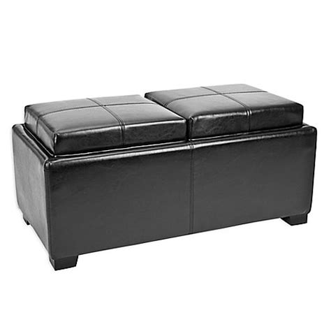 Buy Safavieh Hudson Leather Tray Ottoman In Black From Bed Bath Beyond Buy Safavieh Tray Ottoman In Black From Bed Bath Beyond