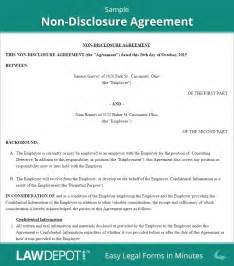Non Disclosure Agreement Template by Non Disclosure Agreement Free Non Disclosure Form Us