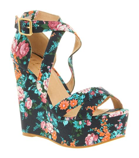 flower print high heels womens office west wedge blue floral print high heel