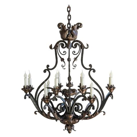 forged iron chandeliers forged iron antique twelve light chandelier circa