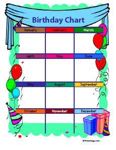 Birthday Chart Template For Classroom by Birthday Chart Style 4