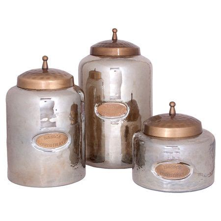 Texture Canister Set set of 3 smoked glass canisters with hammered textures
