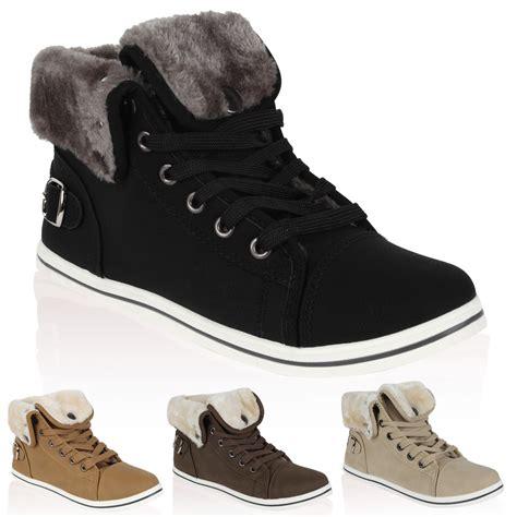 Winter Shoes Pumps by Faux Leather Womens Fur Trim Hi Top Trainers Winter